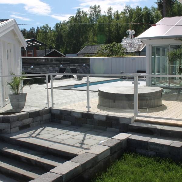 Glasräcken vid pool