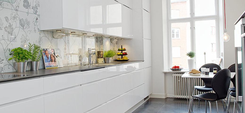Stänkskydd i glas för kök